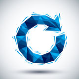 Blue reload geometric icon made in 3d modern style, best for use Royalty Free Stock Images