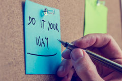 Blue reminder with the advice to do it your way Royalty Free Stock Photo