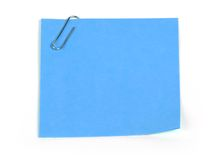 Blue reminder note. On white royalty free stock photography