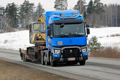 Blue Renault Trucks T Hauls Construction Equipment Stock Image