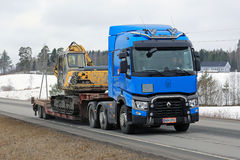 Blue Renault Trucks T Hauls Construction Equipment Royalty Free Stock Photos
