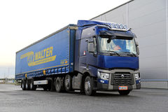 Blue Renault Trucks T Semi Parked Royalty Free Stock Images
