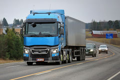 Blue Renault Trucks T Semi on the Road Stock Photos
