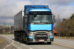 Blue Renault Trucks T Semi Spring Landscape stock image