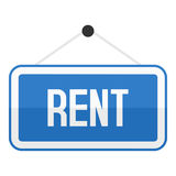 Blue Rent Sign Flat Icon Isolated on White Royalty Free Stock Image