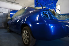 Blue Repainted Car In Garage Royalty Free Stock Image