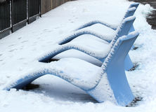 Blue resin lounge chairs Stock Photography