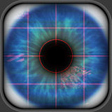 Blue retina scanning. A digital generated illustration of a retina scanning royalty free illustration