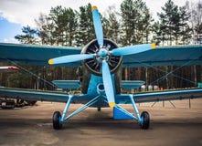 Blue retro airplane Royalty Free Stock Photos