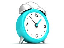 Blue retro alarm bell clock on white Royalty Free Stock Image
