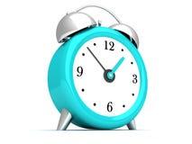 Blue retro alarm bell clock on white Royalty Free Stock Image