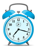 Blue retro alarm clock. Isolated stock illustration