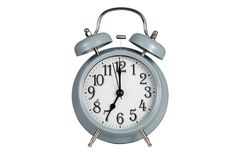 Blue retro alarm clock isolated on white. Background  with clipping paths Stock Images