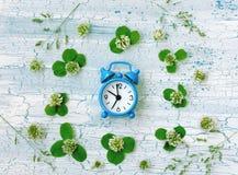 Blue retro alarm clock surrounded clover flowers Stock Photos