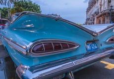 Blue retro car in Cuba stock photography