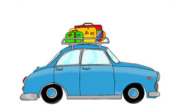 Blue retro car with luggage. Hand drawn, digitally colored Stock Photo