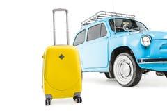Blue retro car with luggage. Isolated on white Stock Photo