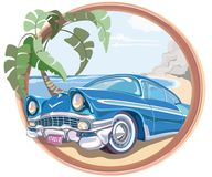 Blue retro car 50s in vector. On the beach with a palm tree stock illustration