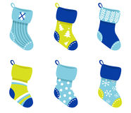 Blue retro Christmas Socks collection. Cute Christmas Socks set - vector cartoon Illustration Stock Photo