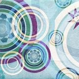 Blue retro circles - aged paper texture Royalty Free Stock Photo