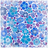 Blue retro flowers Royalty Free Stock Images