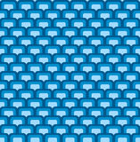 Retro Geometric Pattern. Blue retro geometric seamless pattern with rounded squares Royalty Free Stock Photo