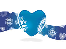 Blue retro heart for sample text Stock Photos
