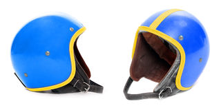 Blue retro helmet. Royalty Free Stock Photo