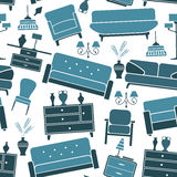 Blue retro interior seamless pattern Royalty Free Stock Image