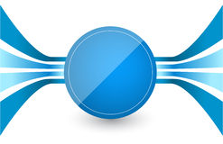 Blue Retro Lines in center a blue circle Royalty Free Stock Photography