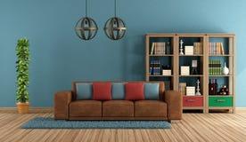 Blue retro living room Royalty Free Stock Photography