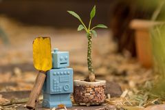 Blue Retro robot toys in Natural background Stock Photography