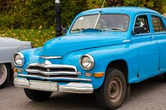 Blue retro soviet car GAZ-M20 Pobeda Victory. Outdoors Royalty Free Stock Photo