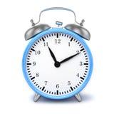 Blue retro styled classic alarm clock  Stock Image