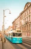 Blue retro Swedish tram Royalty Free Stock Photo