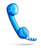 Blue retro telephone Stock Photos