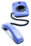Blue retro telephone isolated Stock Photo
