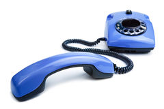 Blue retro telephone isolated Stock Photography