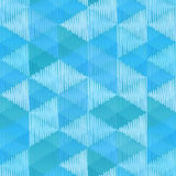 Blue retro textile triangles seamless pattern Stock Photos