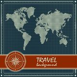 Blue retro travel background with world map Stock Images