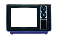 Blue Retro TV Isolated with Clipping Paths. Retro TV Isolated with Clipping Paths. File contains three clipping paths. One for the outline, one for the screen Royalty Free Stock Images