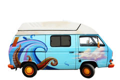 Blue retro van - isolated. A retro blue van with ocean drawings on it - isolated Stock Photography