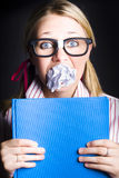 Studious Nerd Student Cramming Before Exams Royalty Free Stock Photography