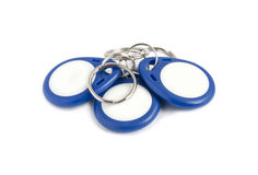 Blue RFID Key. On white background stock images