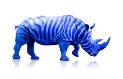 Blue rhino with zebra lines. Over white, clipping path included in the image vector illustration
