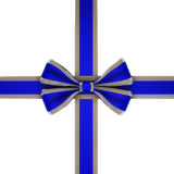 Blue ribbon. With silver stripes  isolated on white Stock Images