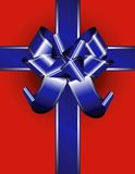 Blue ribbon on red Stock Photography