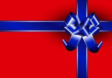 Blue ribbon. With silver lines on a red package Stock Photos