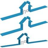 Blue Ribbon 3D House Symbols with Door Window. Blue Ribbon 3D House Symbol in 3 versions, 2 with Doors and Windows Royalty Free Stock Photos