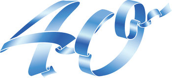Blue ribbon 40. Blue ribbon formed the 40 number Stock Photography